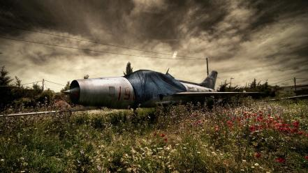 Clouds aircraft plains abandoned plain skies wallpaper