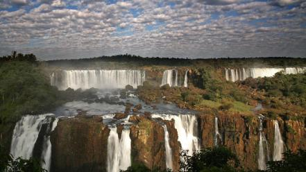 Clouds landscapes brazil waterfalls iguazu falls Wallpaper