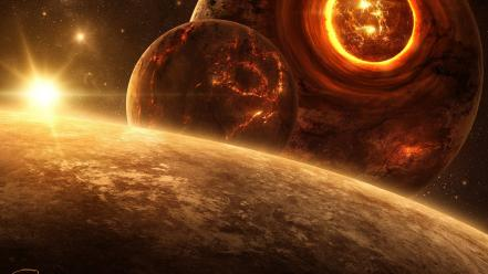 Death outer space planets digital art science fiction Wallpaper