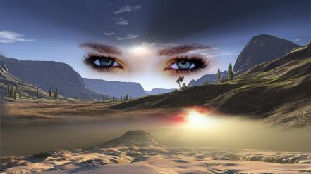 Eyes desert skyscapes land wallpaper