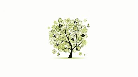 Minimalistic trees white background wallpaper