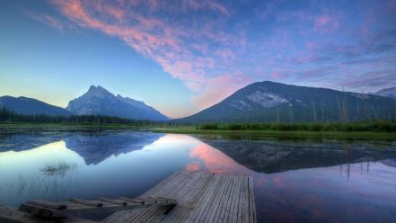 Mountains clouds landscapes trees dock lakes skyscapes reflections wallpaper