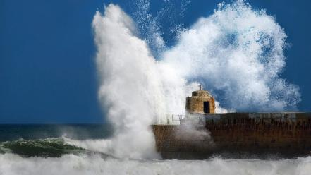 Ocean storm pier breakwater sea wallpaper