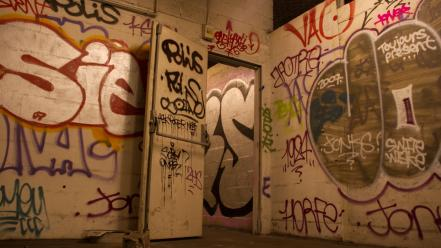 Paris graffiti urban metro subway abandoned saint martin wallpaper