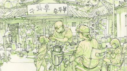People korean restaurant monochrome artwork drawings kim jung-gi Wallpaper