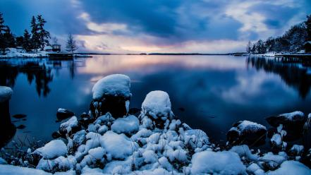 Landscapes nature snow trees sweden stockholm lakes wallpaper