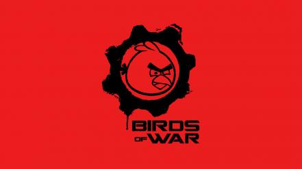 Minimalistic gears of war funny angry birds wallpaper
