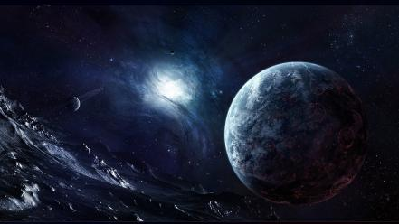 Outer space stars planets science fiction wallpaper