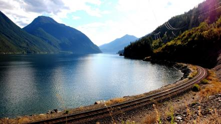 Railroad tracks lakes wallpaper