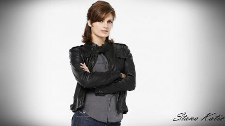 Stana katic white background castle tv series Wallpaper