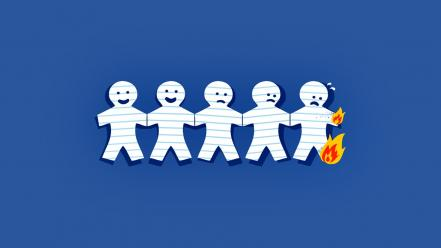 Cartoons paper fire funny faces chain wallpaper