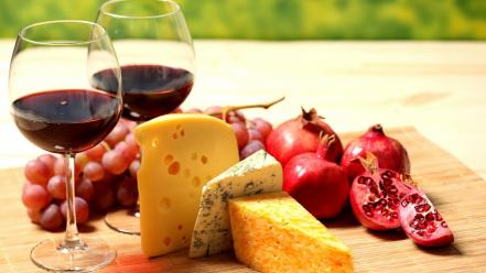 Food cheese grapes wine pomegranate glass Wallpaper