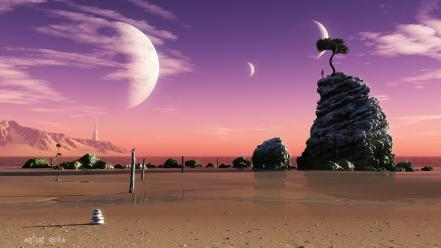 Nature planets digital art science fiction Wallpaper