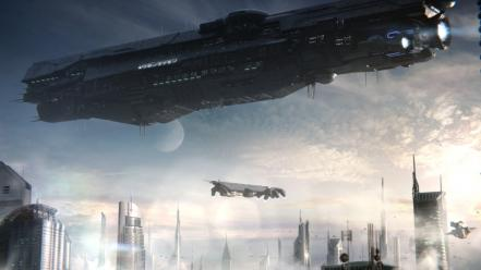 Spaceships science fiction 4 cities unsc infinity wallpaper