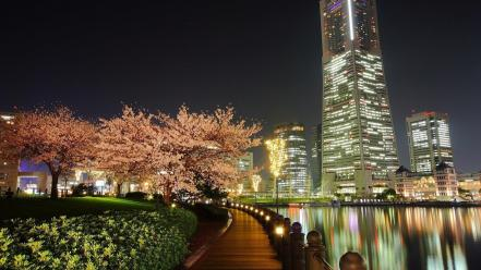 Trees cityscapes buildings rivers cities pathway wallpaper