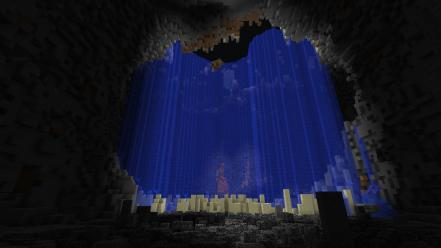 Water dark explosions lava calm minecraft nuke wallpaper