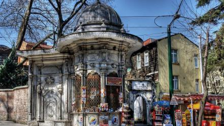 Architecture power lines istanbul dome shop wallpaper