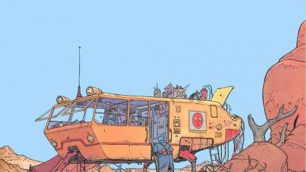Artwork vehicles traditional art moebius french artist wallpaper