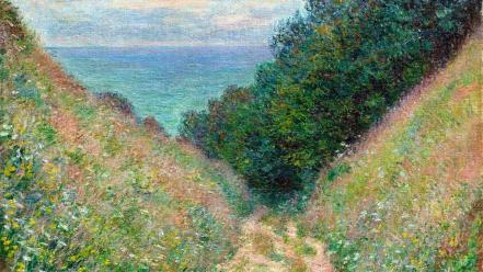 French traditional art claude monet trails impressionism wallpaper