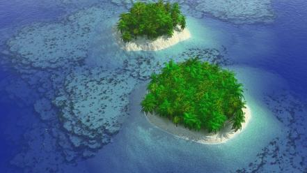 Ocean nature trees cgi islands wallpaper