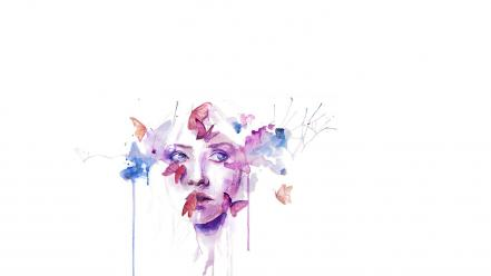 Paintings minimalistic project faces agnes cecile butterflies wallpaper