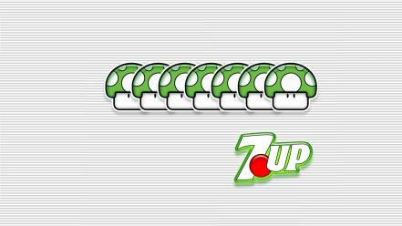 Super mario mushrooms 7up one-up white background wallpaper