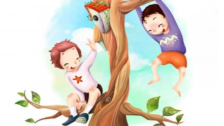 Trees children Wallpaper