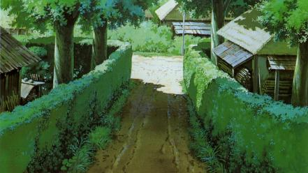 Trees houses my neighbour totoro hedges wallpaper