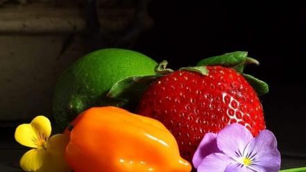 Vegetables fruits strawberries wallpaper