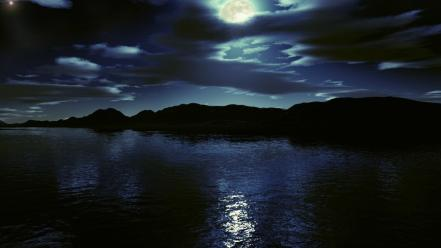 Water clouds moon skyscapes net lake wallpaper