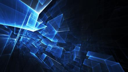 Abstract blue transparent shapes squares wallpaper
