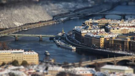 Cityscapes prague tilt-shift rivers winter sports wallpaper