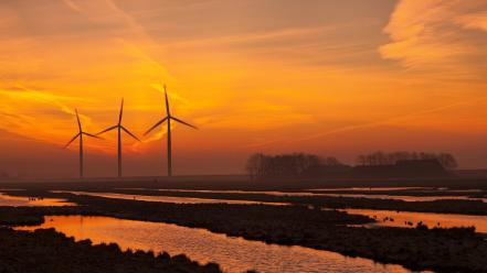 Landscapes nature rivers wind turbines wallpaper