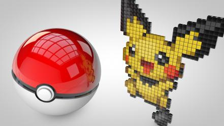 Pokemon 3d render mangotangofox pichu pokeball wallpaper