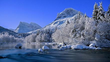 Water mountains landscapes nature snow trees rivers Wallpaper