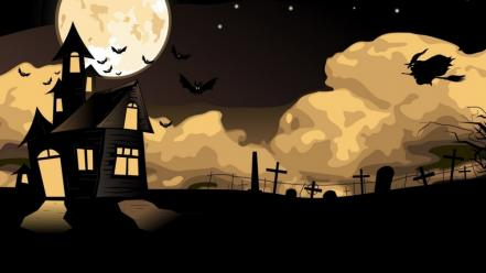 Horror witch moon house wallpaper