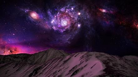 Mountains outer space night stars galaxies photomanipulation skies wallpaper