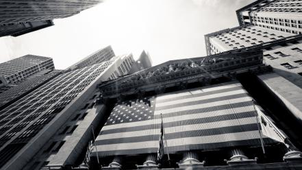 New york city grayscale skyscrapers stock exchange wallpaper