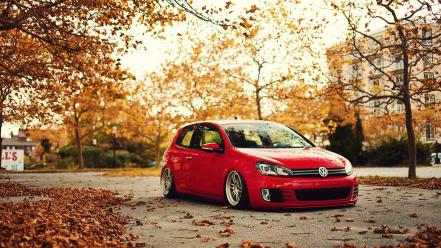 Trees autumn (season) cars roads volkswagen golf 6 wallpaper