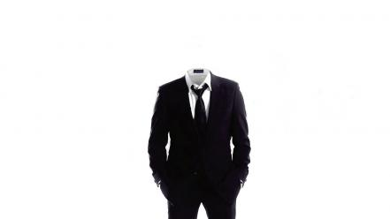 Anonymous suit tie monochrome white background wallpaper