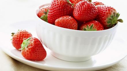 Fruits bowls strawberries wallpaper