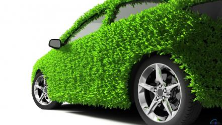 Green abstract white cars grass 3d wallpaper