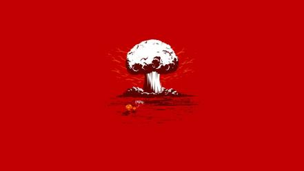 Minimalistic funny typography nuclear explosions red background shrooms wallpaper
