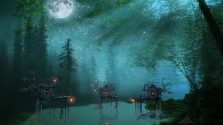 Nature night forest wallpaper