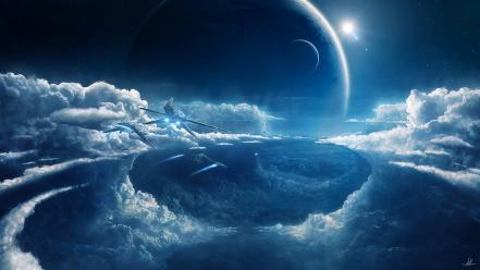 Outer space planets prometheus wallpaper