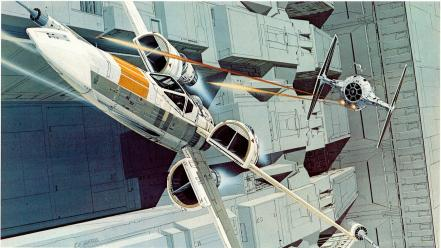Star wars death x-wing ralph mcquarrie tie fighter wallpaper