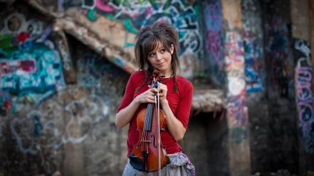 Music graffiti violins smiling lindsey stirling violinist wallpaper