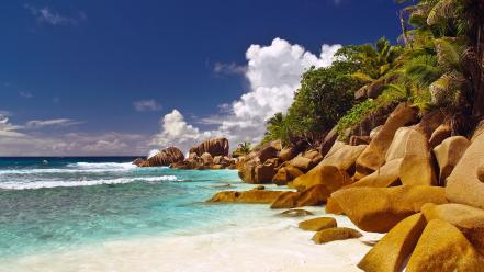 Nature beach sand trees corner rocks islands seychelles wallpaper