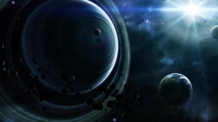 Outer space planets satellite stars Wallpaper