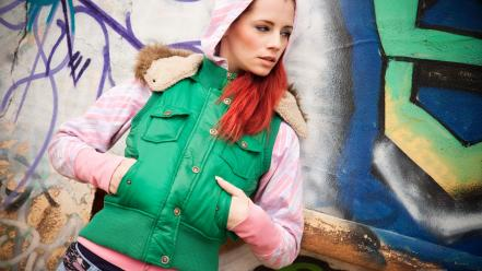 Redheads graffiti outdoors jackets ariel piper fawn wallpaper